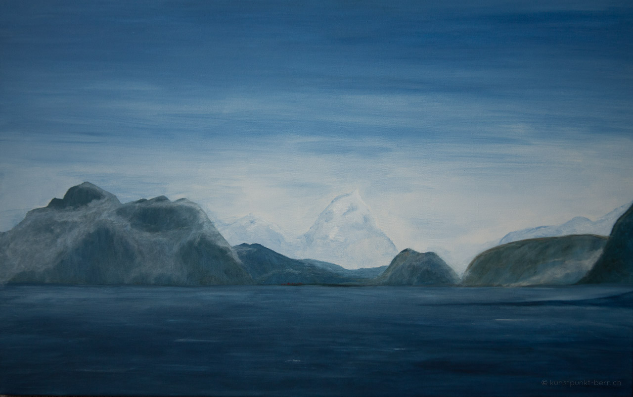 Das Dorf am Fjord - Acryl auf Leinwand - von Judith Kaffka - kunstpunkt-bern.ch