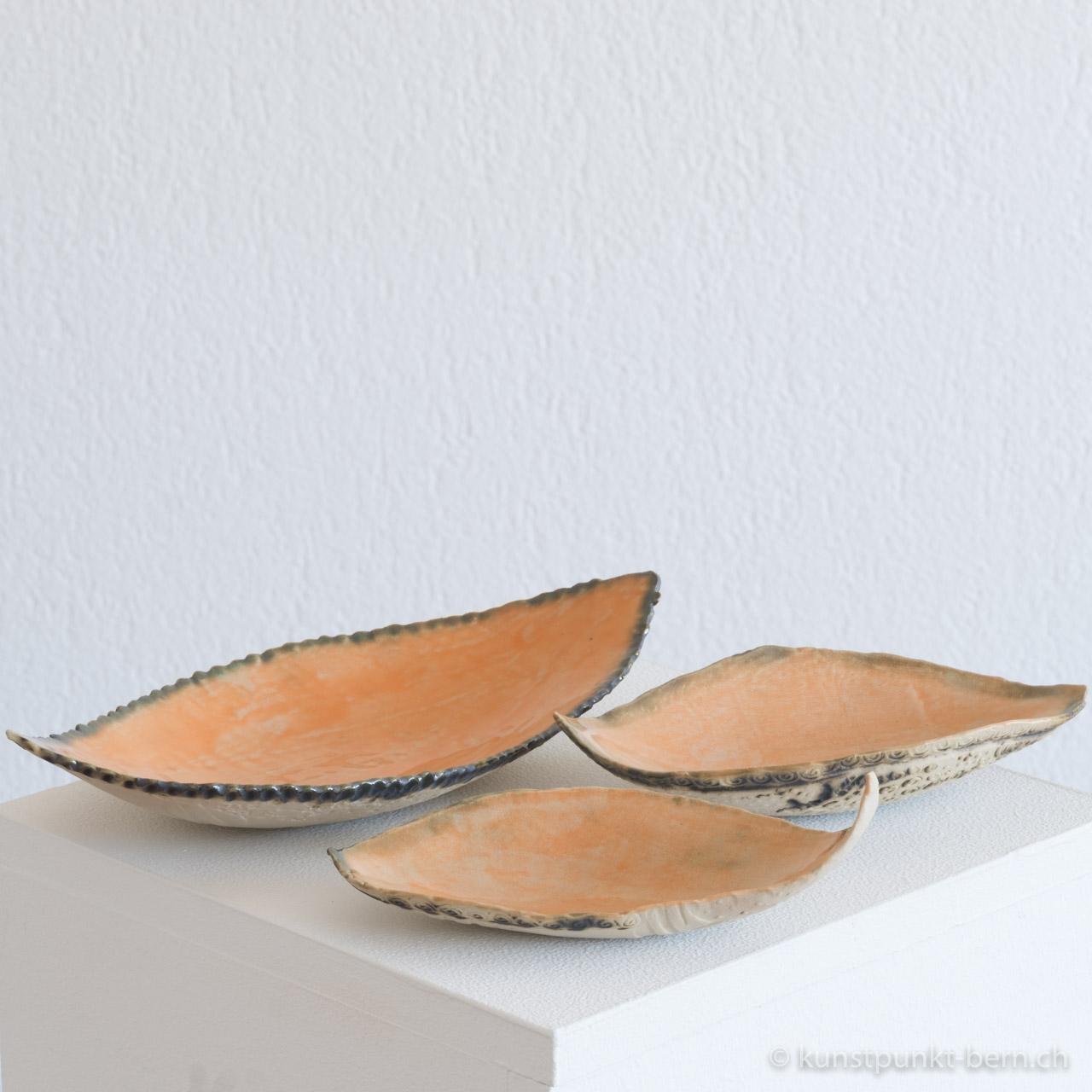 Coquille orange Tongefäss von Judith Kaffka kunstpunkt-bern.ch